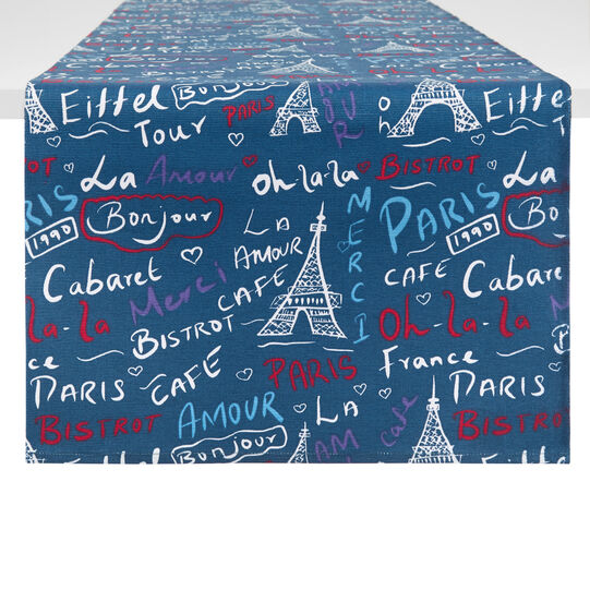 100% cotton table runner with Paris print
