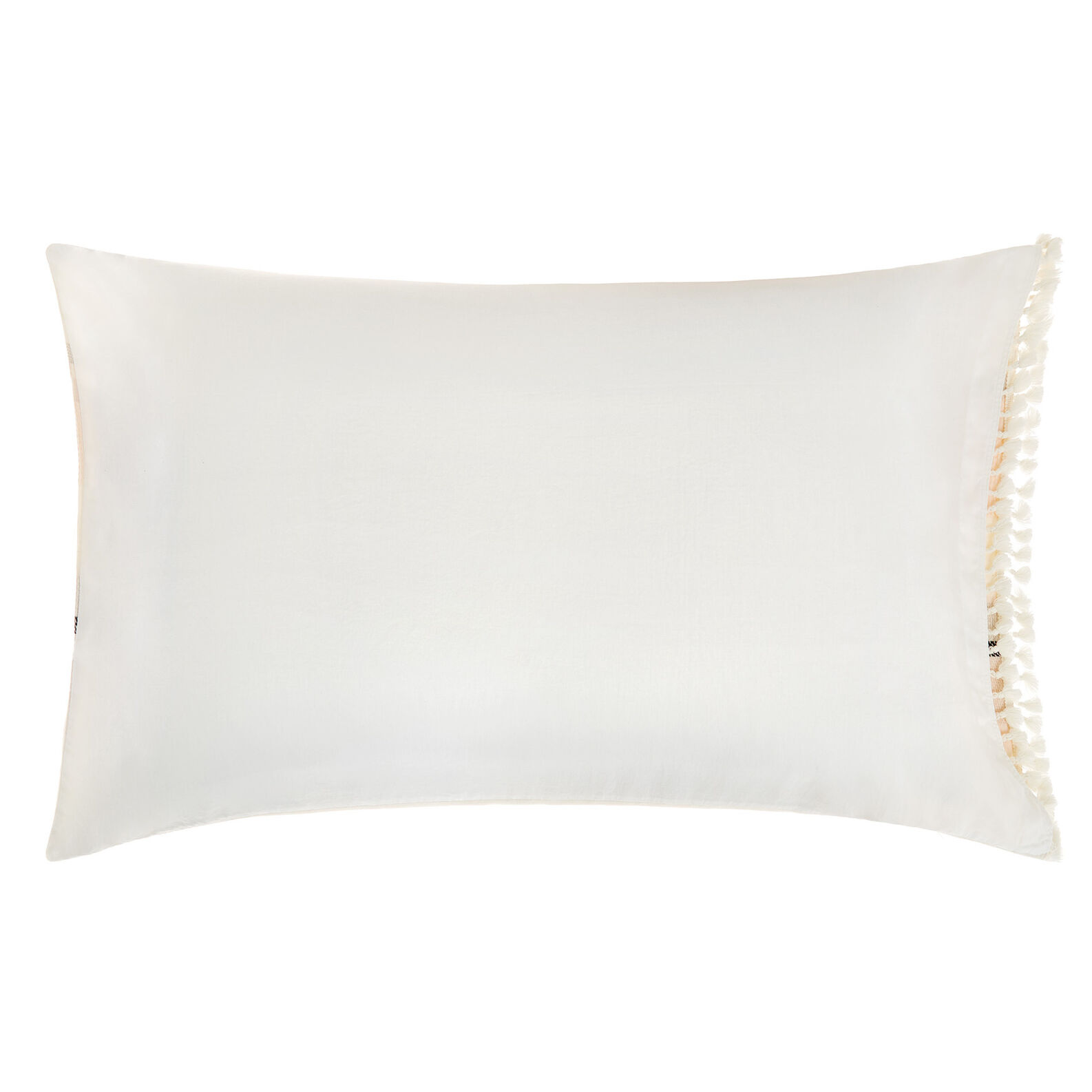 Cotton jacquard pillowcase with tassels