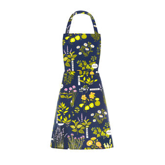 Bib apron in 100% cotton with Herbarium print