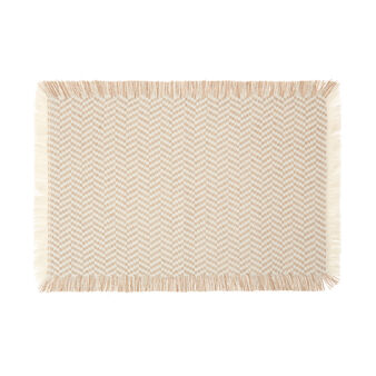 Place mat in 100% cotton with  jacquard weave and fringing