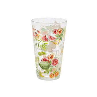 Glass tumbler with tropical motif