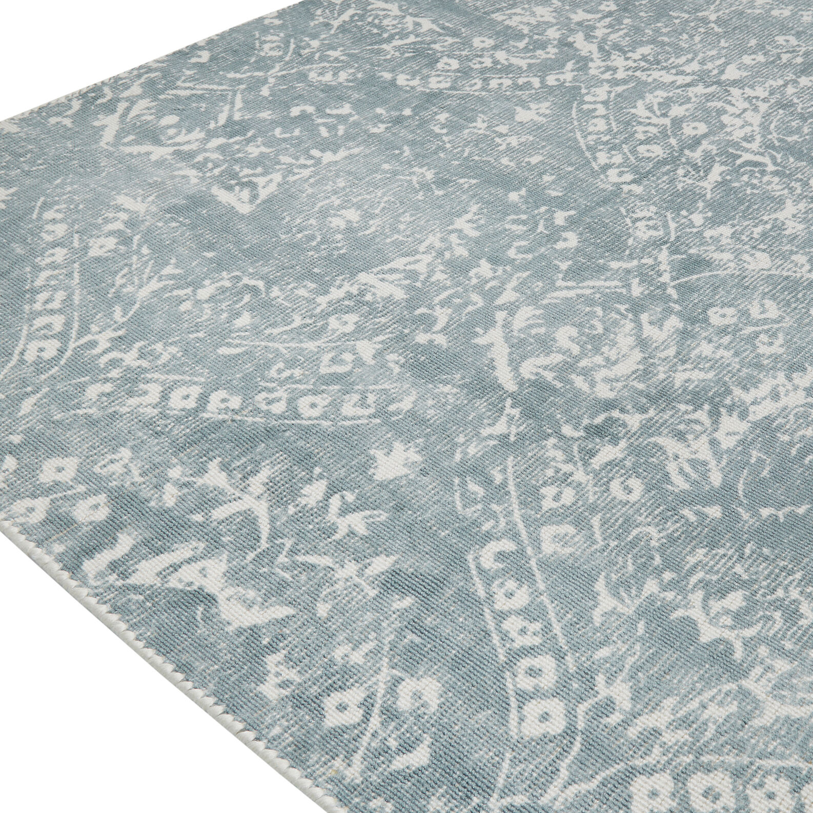 Hand-printed rug in cotton blend