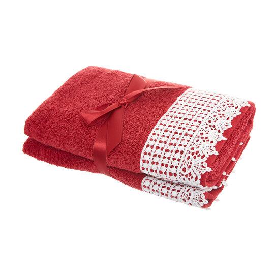 Set 2 asciugamani ricamo crochet