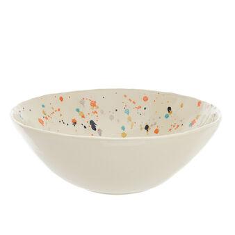 Decorated stoneware salad bowl