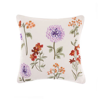 Cotton cushion with floral embroidery