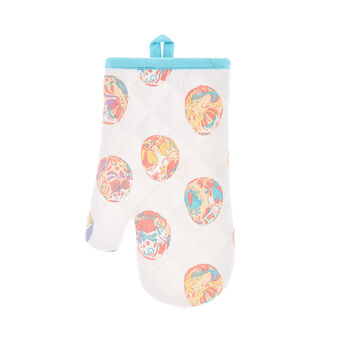 Oven mitt in cotton with Easter print