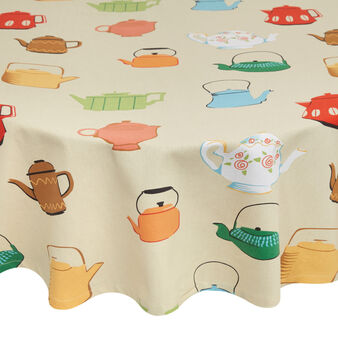 Round 100% cotton tablecloth with teapot print