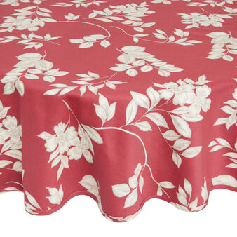 Round 100% cotton tablecloth with foliage print