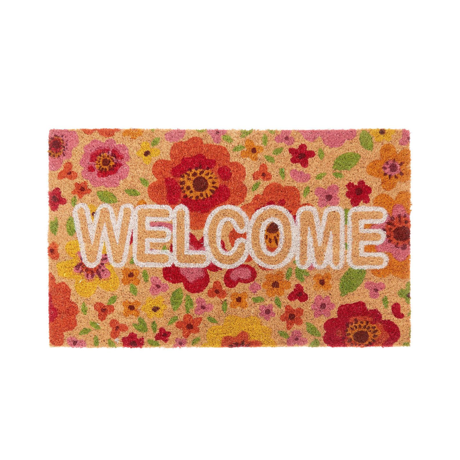 Coconut doormat with floral motif