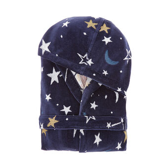 Velvet-effect cotton bathrobe with space motif