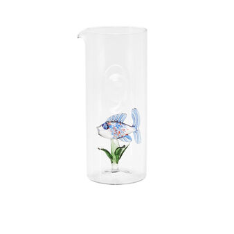 Glass carafe with fish detail