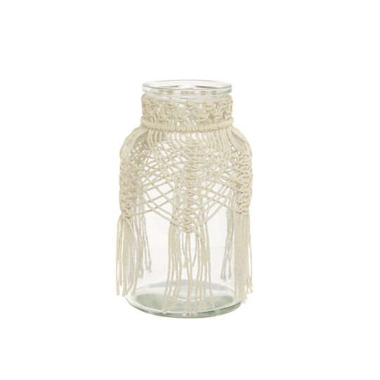 Glass vase with macramé applications
