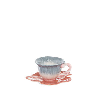 Flower-shaped ceramic coffee cup