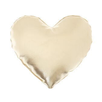 Metallic-effect heart-shaped cushion