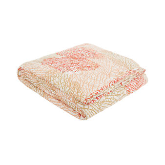 Cotton satin quilted bedspread with coral pattern