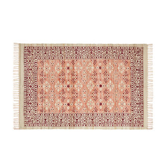 Cotton Chindi rug with floral motif