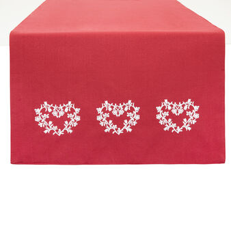 100% cotton table runner with hearts embroidery