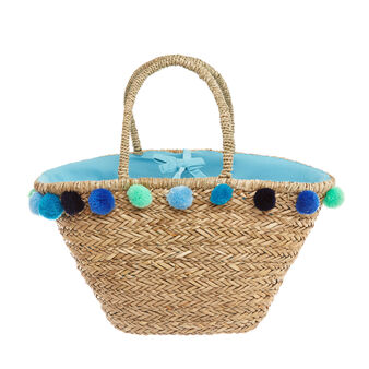 Straw bag with pompoms
