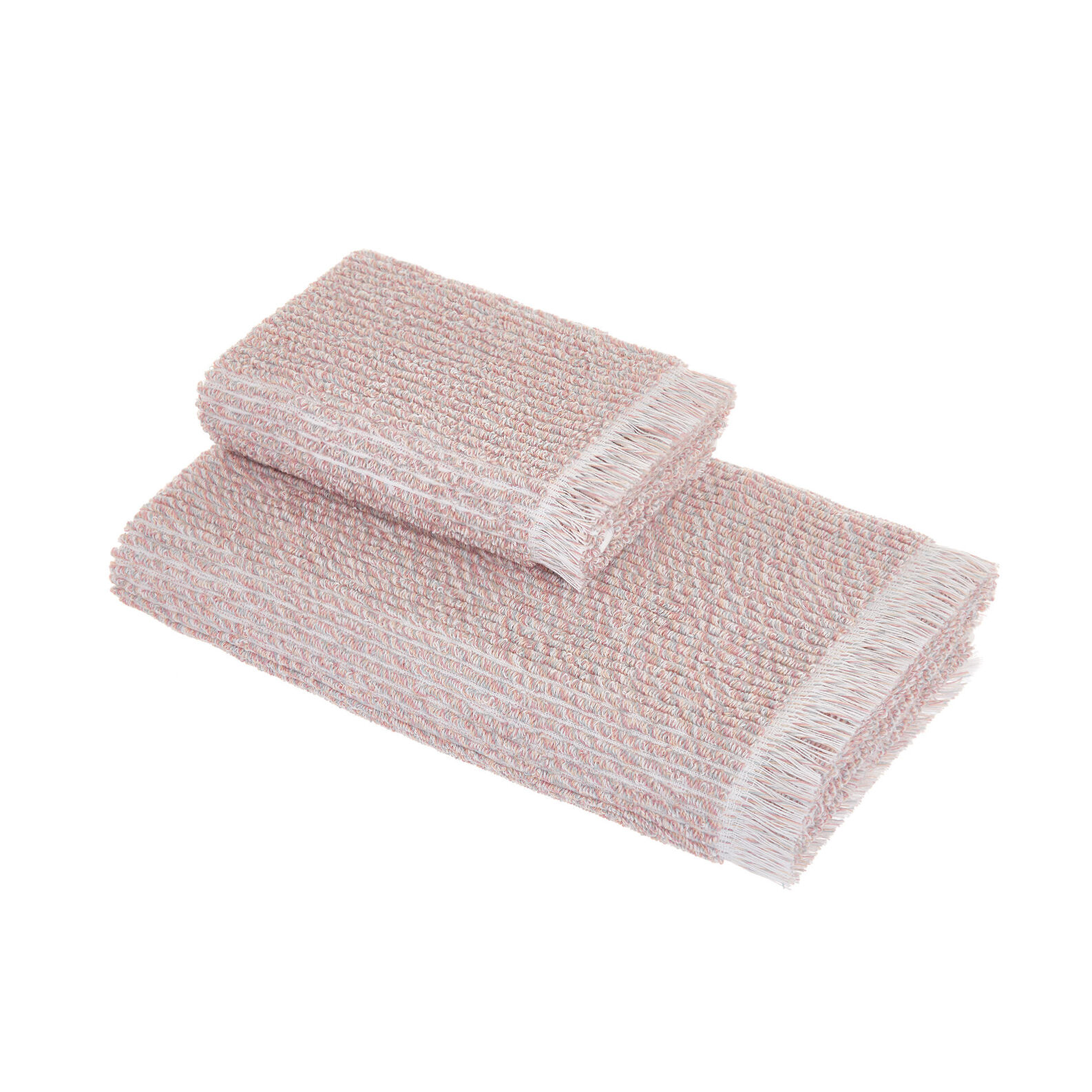 Cotton terry towel with mélange effect