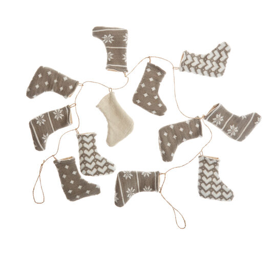 Decorative garland with small felt stockings