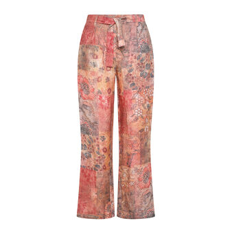 Soft trousers in pure linen with floral pattern
