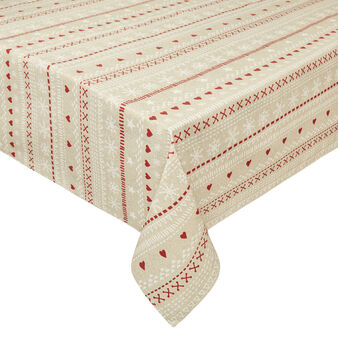 Water-repellent cotton blend tablecloth in Teflon with frames print