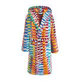 Abstract motif velour cotton bathrobe