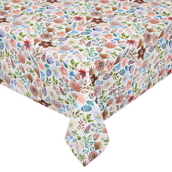 Cotton twill tablecloth with flowers print