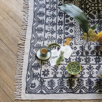 Tappeto puro cotone motivo geometrico