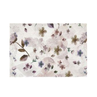 Cotton bath mat with floral print