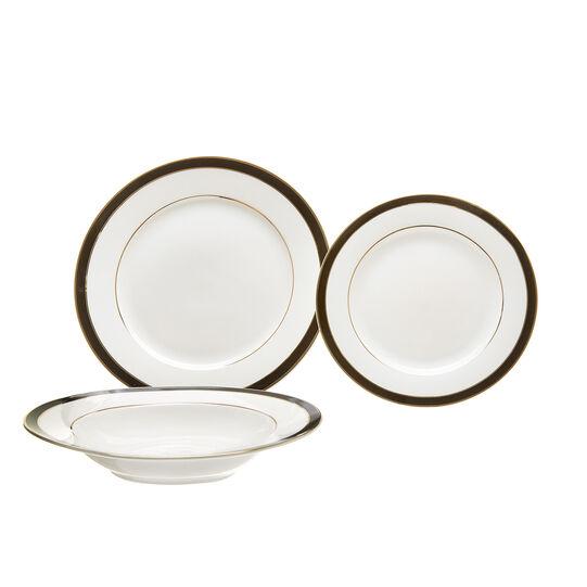 Set of 18 black New Bone China plates