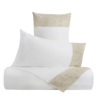 Portofino 100% cotton flat sheet with linen trim