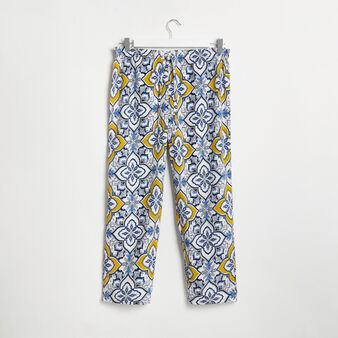 Wide trousers with majolica print