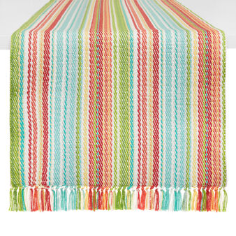 Striped 100% cotton table runner with fringing