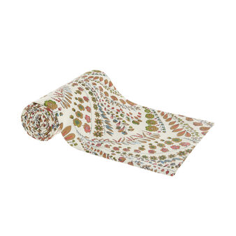 Cotton throw with floral print