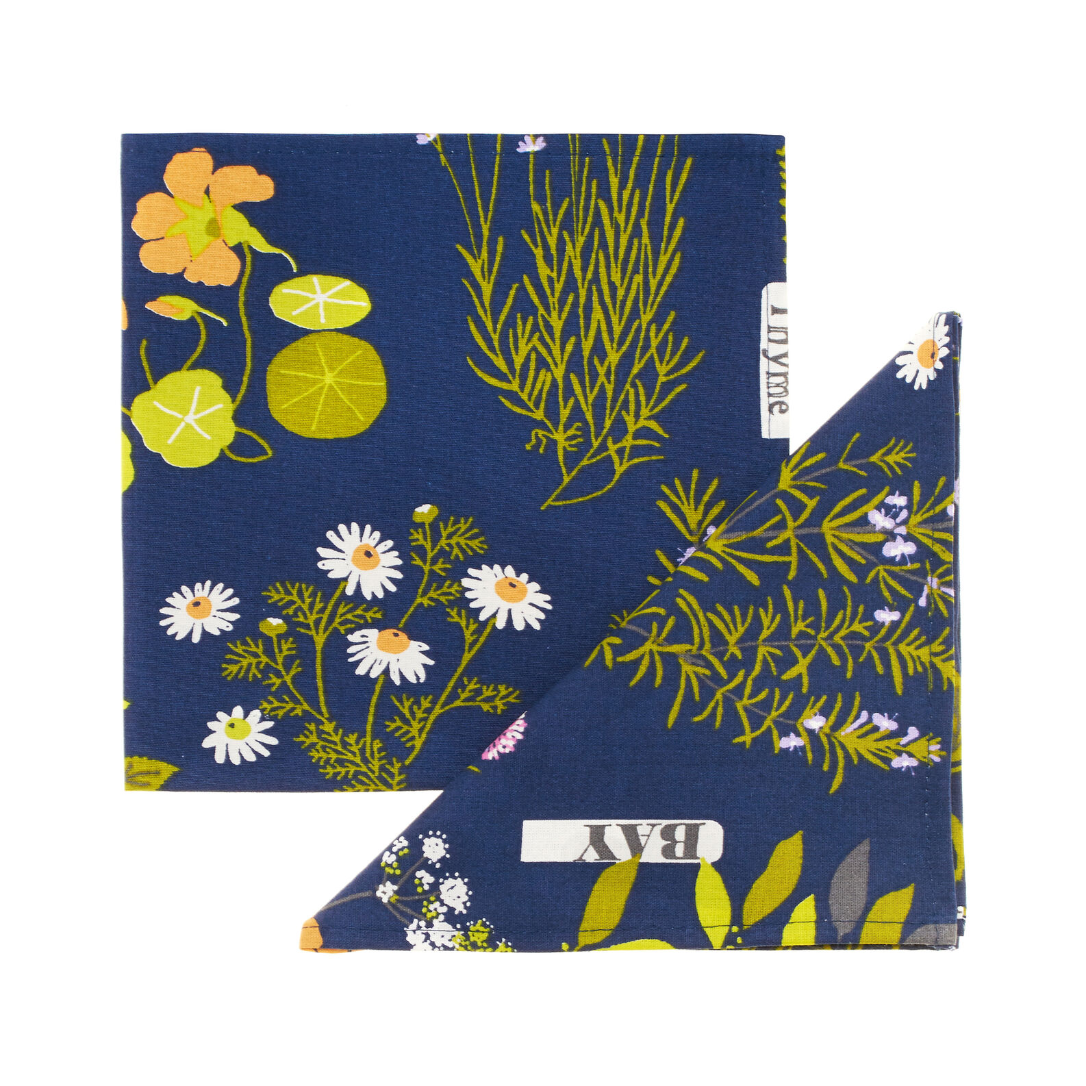 Two-pack 100% cotton napkins with Herbarium print