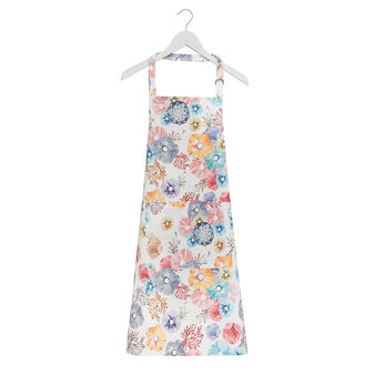 Kitchen apron in cotton twill with floral print