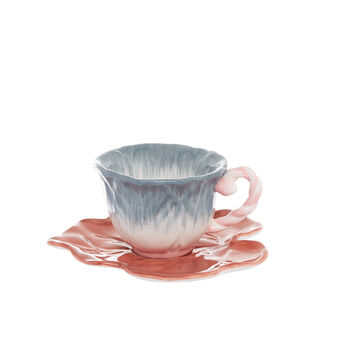 Flower-shaped ceramic tea cup