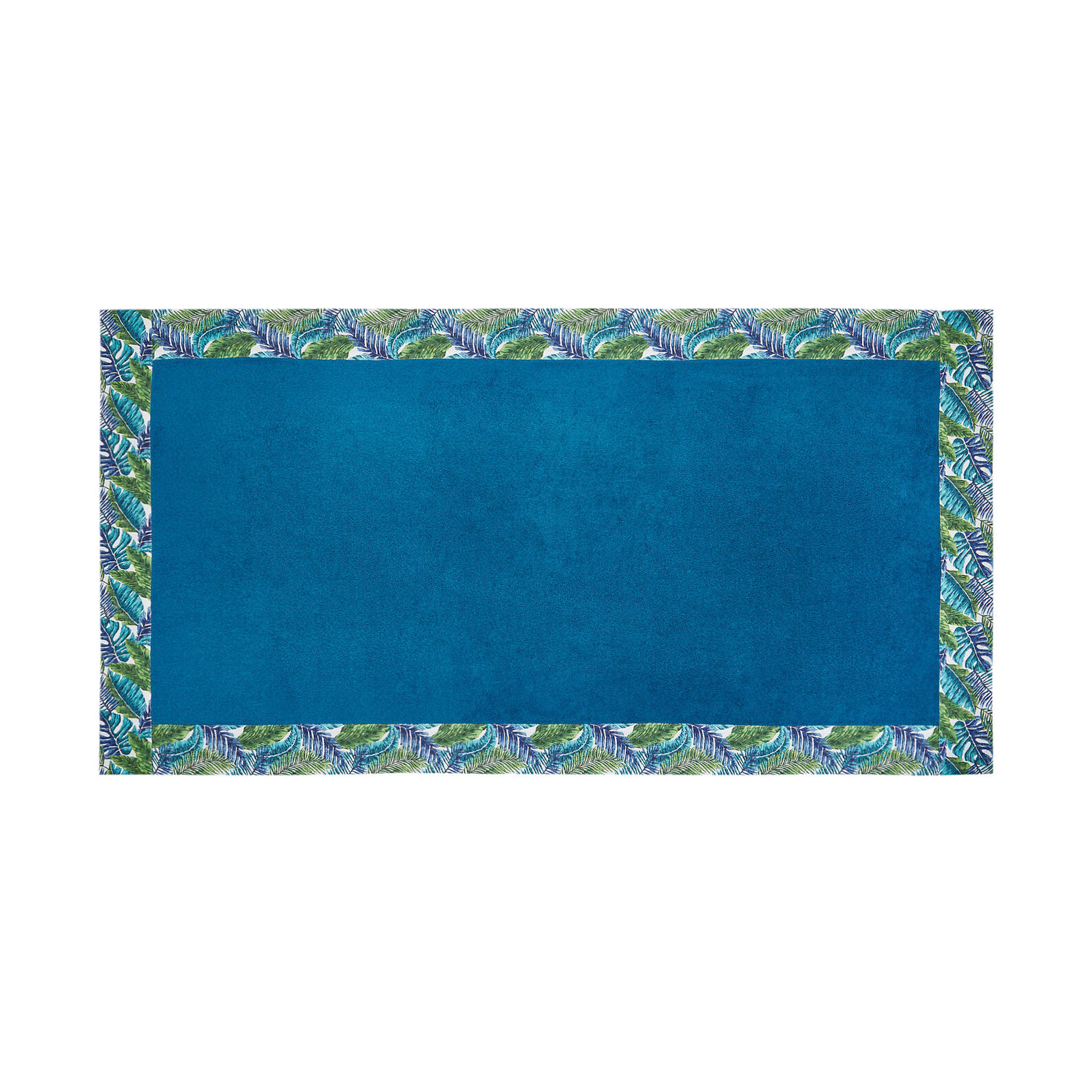 Cotton terry beach towel with patterned trim