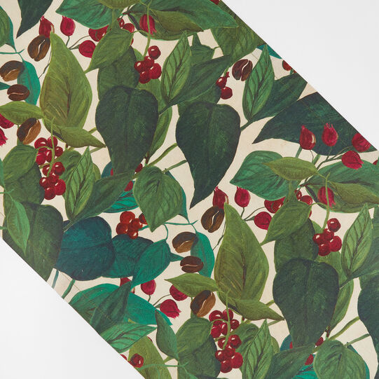 100% cotton table runner with coffee plant print