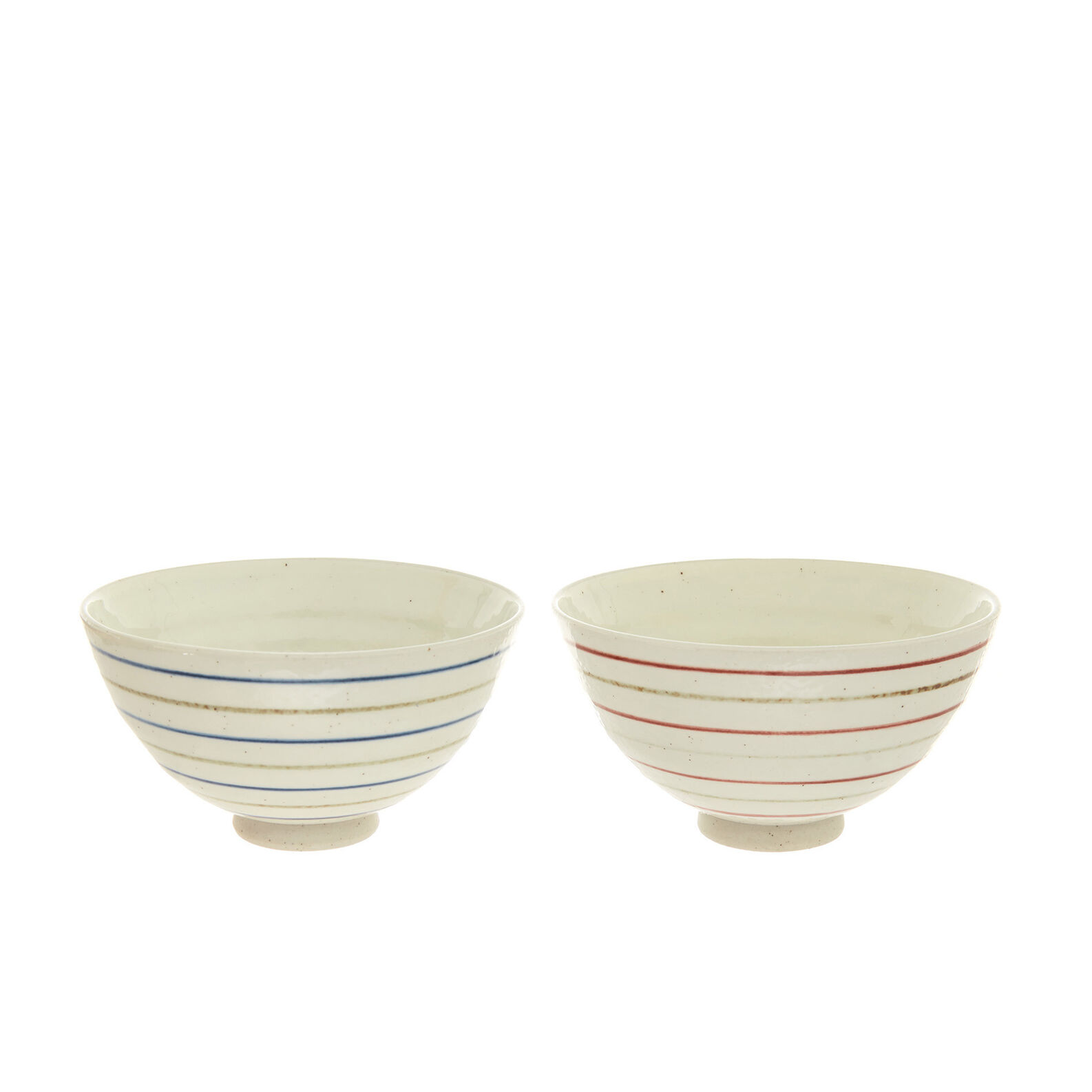 Small stoneware bowls with striped motif