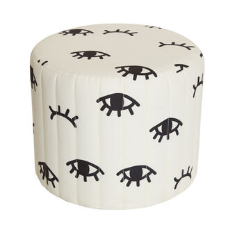 Eyes velvet pouf with print