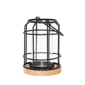 Lantern in wood and iron wire
