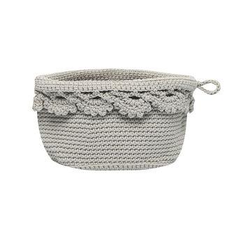 Crocheted round basket
