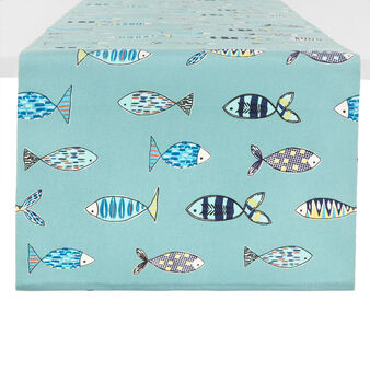 Runner puro cotono stampa pesci