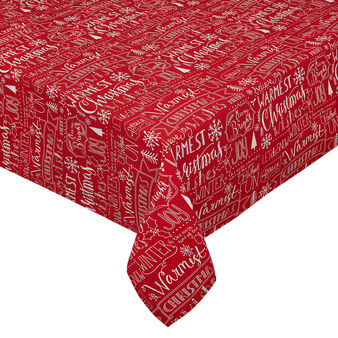 100% cotton Panama tablecloth with seasons greetings print