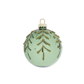 Hand-decorated bauble with small leaves