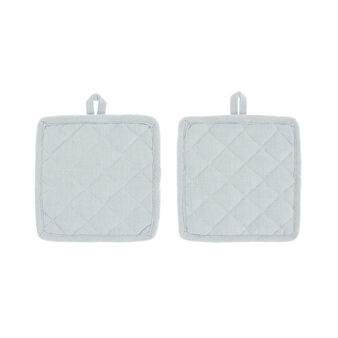 Set of 2 pot holders in 100% herringbone cotton