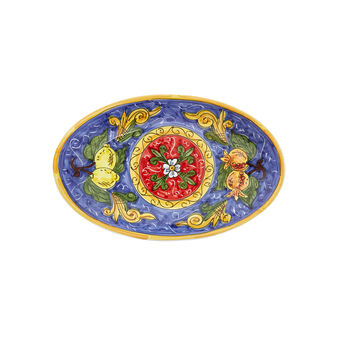 Serving plate with citrus decoration by Ceramiche Siciliane Ruggeri