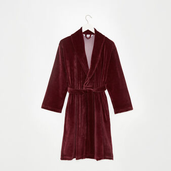 Solid colour velvet dressing gown